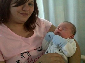 Sarah's female cousine with her newborn baby boy